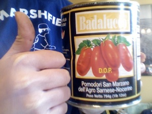I would have taken a photo of the actual soup but I lost my camera. So here are the tomatoes I used! They're from Claudio's in Philly's Italian Market but store-brand ones will work just as well.