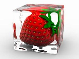 novelty strawberry-containing ice cube