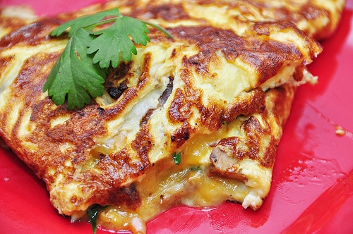 Bacon, Mushroom, Cilantro and Cheese Omelet