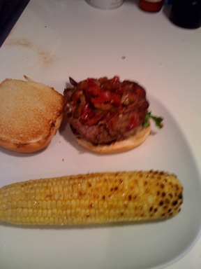 not the greatest picture, but homemade relish on a lamb burger